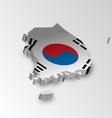 Three dimensional map of South Korea in flag color vector image vector image