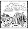 Landscape with pumpkins black and white vector image