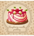 Raspberry vanilla pudding label vector image