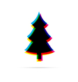 Christmas tree flat icon with shadow vector image