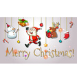 Christmas card with Santa and snowman vector image vector image