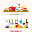 Kitchen Appliances and Objects Cookware Food vector image