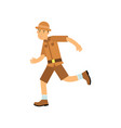 happy cartoon archaeologist character running vector image