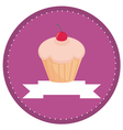 sweet retro cherry cupcake button vector image