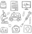 medical icons and doodle drawings vector image