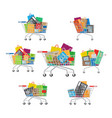 carts set seven full cartoon shopping trolleys vector image