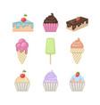 sweets set ice creamcupcakecakepie vector image