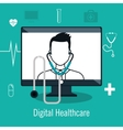 digital healthcare isolated icon design vector image