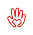 heart in hand line icon love and care concept vector image