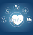 heartbeat service medical icons vector image