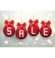 Merry Christmas sale poster with balls vector image