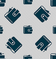 Purse icon sign Seamless pattern with geometric vector image