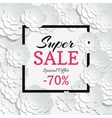 Spring sale banner with 3d paper cut vector image