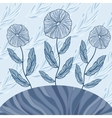 Greeting card with three blue flowers vector image vector image