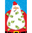 Rich Santa Claus Many money in his beard Santa vector image