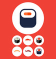 flat icon salmon set of maki salmon rolls vector image