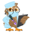 Owl Doctor in mask holds clipboard and pen vector image