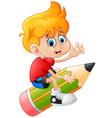 The boy riding the pencil vector image