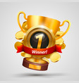 winner cup number one with a win vector image