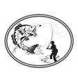 fishing bass emblem vector image vector image