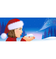 Santa girl on Christmas background vector image vector image