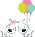 dogscouplewithballoon vector image