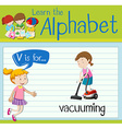 Flashcard letter V is for vacuuming vector image