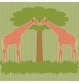 Two giraffes under tree vector image vector image