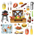 family picnic barbecue realistic icons set vector image