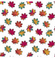 seamless pattern with colorful flat maple leaves vector image