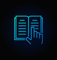 book and hand blue icon vector image