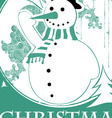 vintage christmas with snowman vector image vector image