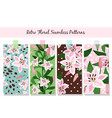 beautiful pink lily pattern set vector image