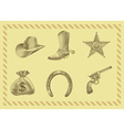 cowboy icon set in engraving style vector image