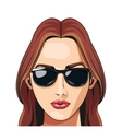 fashion girl sunglasses red haired lipstick vector image
