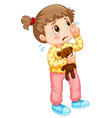 Little girl crying with tears vector image