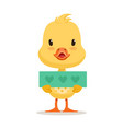 little yellow duck chick holding blue banner with vector image