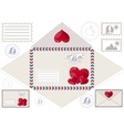 Scan to print an envelope stamped and hearts vector image