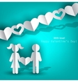 white paper men and woman with heart on blue backg vector image