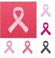 Pink ribbons set of breast cancer on an abstract vector image vector image