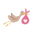 Newborn baby stork cartoon vector image
