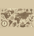 World map with travel icons vector image vector image