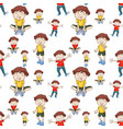 seamless background with boys in yellow and red vector image vector image