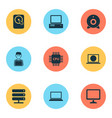 notebook icons set collection of hdd database vector image