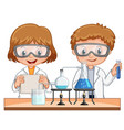 boy and girl do science experiment together vector image vector image