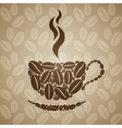 Coffee cup on seamless background with coffee vector image