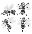 Mosquito in four different poses vector image