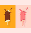 chocolate and strawberry ice lolly vector image