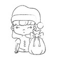 figure nice girl with hat and christmas bag vector image