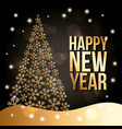 happy new year golden tree pine snow fall poster vector image